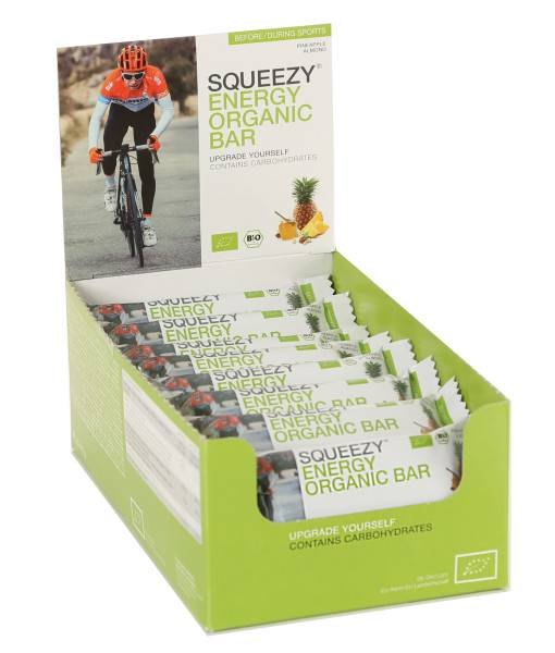 SQUEEZY ENERGY ORGANIC BAR DISPLAY Ananas-Mandel